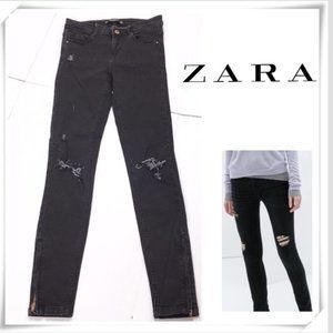 ZARA Skinny Jeans, Black Distressed Ankle Zip, 2